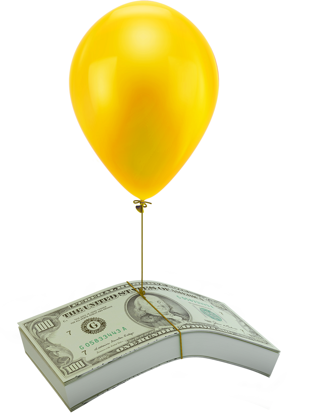 stack of cash floating from a balloon string